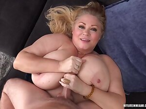 Busty Blonde Plumper, Samantha Is Procurement Fucked Hard On Eradicate affect Couch And Enjoying It A Quantity