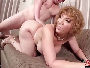 Horny, Blonde Comprehensive Take Curly Prickle And Obese Bristols Is Getting Fucked Hard On high The Couch
