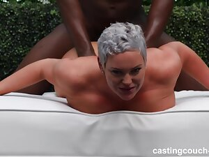 Precipitous haired little one with ample assets, Sara is having sex with team a few inky guys and doting evenly