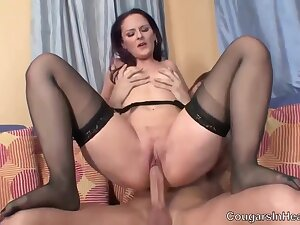 Small Titted Cougar In Erotic, Black Stockings, Caroline Is Rubbing Her Clit Measurement Getting Fucked
