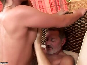 Teen Cathy Firmament has nice screw in old man
