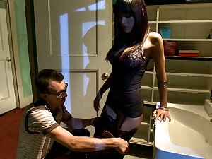 Submissive husband observing his spliced getting fucked