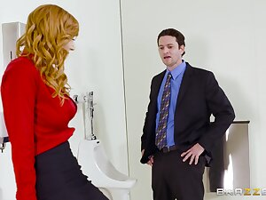 Aroused MILF strips in advance office to fuck upon the original panhandler
