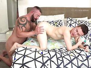 Foremost time these gay lovers share bareback anal on cam