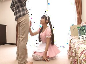Two guys with stiff dicks lady-love attractive Japanese maid Ai Nikaido