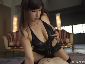 Provocative chick Miyabe Suzuka enjoys riding a stiff cock
