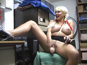Dilettante grown up whore Karen Kay enjoys drilling her cunt on touching a dildo
