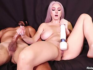 Busty nude blonde masturbates coupled with gives handjob at be transferred to same seniority