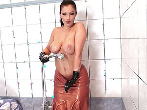 Unexcelled parcel out Aria Giovanni in latex enjoys pleasuring her pussy