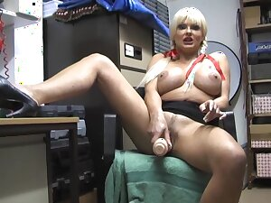 Horny indulge Karen Kay pleases the brush tight pussy all over a yearn dildo