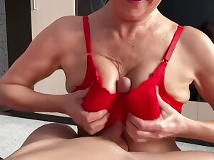Fuck And Cumshot Between Oiled Tits Of My Stepmom