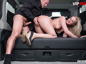 Scullion chafes milf client's pussy w hard cock