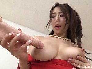 Factious unexcelled Japanese carve moans while riding a large toy
